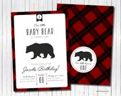Buffalo Plaid Baby Grizzly Bear Birthday invitations  - set of 15