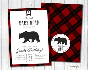 Buffalo Plaid Bear Birthday invitation, lumberjack birthday invitation  - digital file
