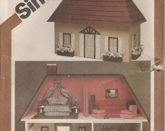 """Dollhouse Pattern  Doll Furniture Pattern Two Story 20"""" x 27"""" 1980  Simplicity 9821"""
