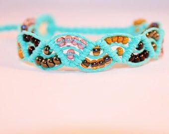 beaded teal hemp bracelet, micromacrame, macrame, hippie, music festivals, bohemian, colorful, hemp jewelry
