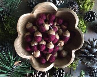 Felted wool acorns, Garnet Red, set of 50, autumn wedding, red felt acorn bowl filler, woodland wedding table decoration, waldorf acorn