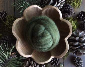 Wool roving supply for needle felting, Mossy Green, 1/2 ounce or 1 ounce, green wool for felting, dark green roving, moss green wool roving