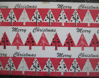 Vintage 1950s Christmas Tree Design Wrapping Paper Swatch Samples, Salesman Samples, Two Design Variations, 2 Pcs. Design Inspiration