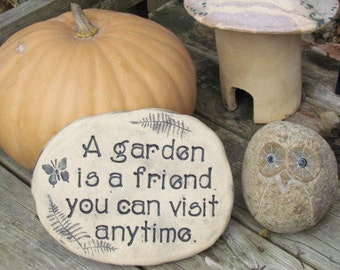 """Garden Quote  """"A garden is a friend you can visit anytime"""" Friend gift, Friend Quote, Ceramic Vegetable or Flower garden decor, Solid Brick"""