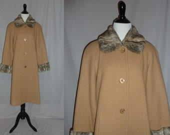80s Wool Coat - Faux Fur Collar and Cuffs - Light Brown - Satin Lining - Mid-Century 50s Style - Vintage 1980s Coat - S M