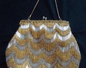 Scalloped BEADED Vintage 1980's Women's Evening Bag Purse