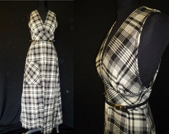 Black & White Wool Plaid Vintage 1970's Women's MAXI Sleeveless Dress XS S