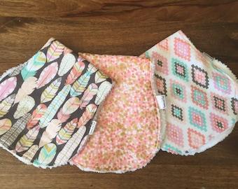 Baby Girl Burp Cloth Set, Coral Prints, Modern Baby Girl Burp Cloths, Cotton Chenille Burp Cloth Set, Baby Girl Gift