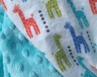 Giraffe  Blanket, Baby Boy Blanket, Flannel blanket, Minky Blanket, Stroller Blanket, Car Seat Blanket, Made to Order