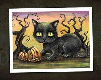 "Halloween Black Cat - Yellow Eyes - 11"" x 8.5"" Art Print"