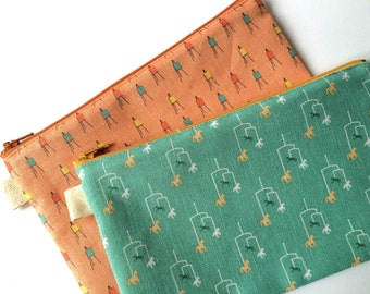 Two Fabric Pouches. Mobiles and Art Easels. Makeup pouch, Pencil case. Pencil Pouch.