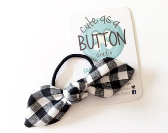 Hair Tie - Fabric Twist Knot Bow - Girls Hair Tie - Girls Hair Bow - Black and White Hair Tie - Black and White Hair Bow - Fabric Hair Tie