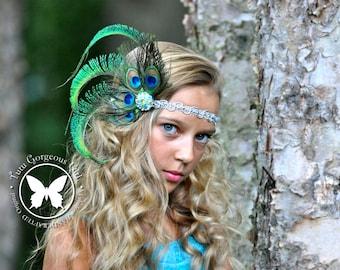 Peacock Feather Headpiece with Silver Jewel Rhinestone Centerpiece & Optional Silver Headband...Peacock Feather Fascinator