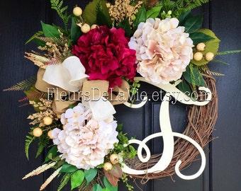 Spring Wreaths, Front Door Wreath, Valentine's Day Wreath, Front Door, Burlap Wreaths, Home Decor, House Warming Gift, Burlap Wreath