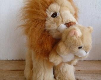 Plush Lion with Cub  Super Cute! Chosun International