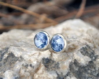 Tiny Moon ear studs - small earrings studs, astronomy planet galaxy moon jewelry, full moon earrings studs - ready to ship
