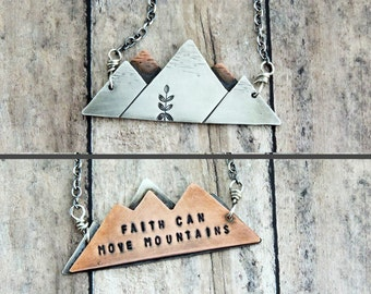 Mountain Range Necklace - Faith Can Move Mountains - Christian Jewelry - Inspirational Scripture Necklace