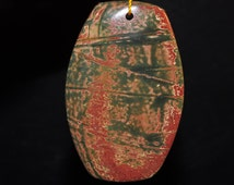 Listed @20% Off Was 19.99---33x52x7mm Gorgeous-Red Cherry CREEK JASPER X-Large Barrel-Shaped Focal Pendant - O1005