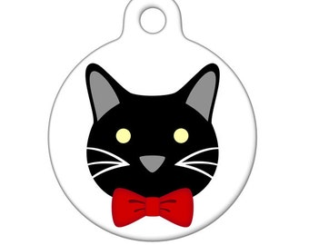 Pet ID Tag - Cat with Red Bowtie Pet Tag, Cat Tag, Luggage Tag, Child ID Tag