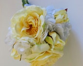 Yellow Rose Bridal Bouquet, White Hydrangea Bouquet, Yellow Peony Bouquet, Yellow and White Bridal Bouquet, Yellow Bridesmaids Bouquet