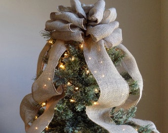 Burlap Christmas Tree Topper Bow, Rustic Topper, Shabby Chic Tree Topper, Natural Tree, Rustic Christmas Bow, Primative Burlap Topper