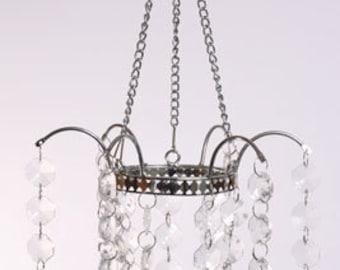 Hanging votive holder crystal votive chandelier diy wedding for Diy hanging tea light candle holders