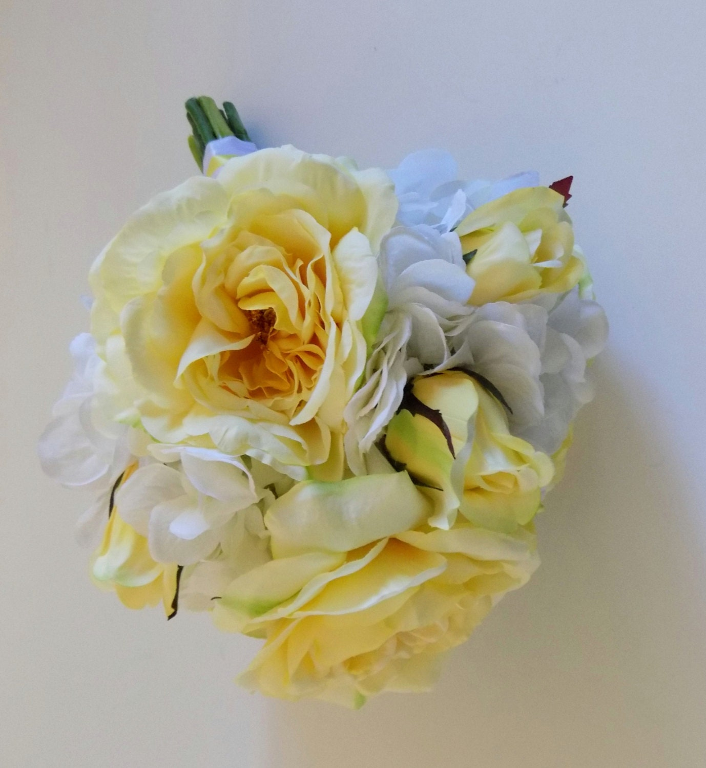 Wedding Flowers Yellow Roses: Yellow Rose Bridal Bouquet White Hydrangea Bouquet Yellow