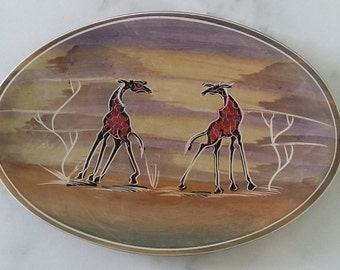 Vintage Soapstone Dish or plate African 2 Giraffes Black Hand Carved