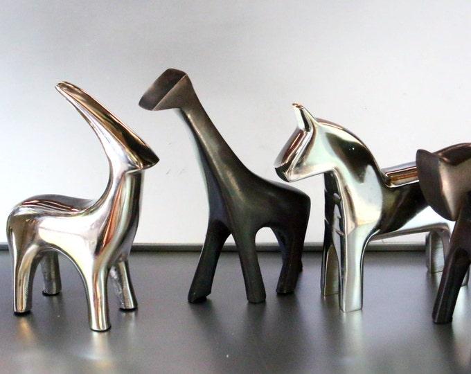 Rhino Antelope Horse Giraffe Safari African Friends Geometric Animals Modern Metal Marvels Sculpture Cast Chrome Silver Bronze Alloy Brass