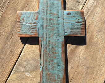 Rustic Cross, natural yellow pine reclaimed very old wood, stained and beautiful