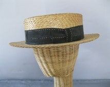 Men's 1920s Boater - Antique Hat Straw Gatsby Style - Roaring 20's - 7