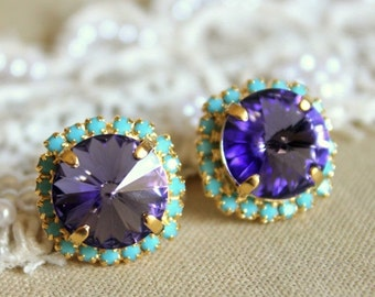 Purple Turquoise earrings, Purple Swarovski earrings, Purple earrings, Bridesmaids earrings, Violet c crystal Stud earrings, Gift for her