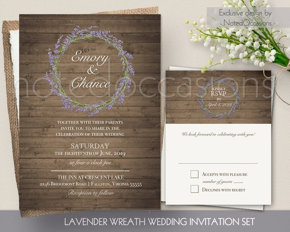 Rustic Wedding Invitation Sets: Lavender Wedding Invitation Set By NotedOccasions On Etsy