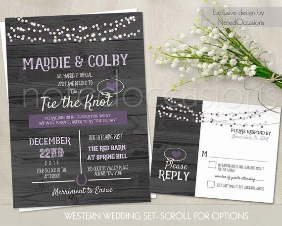 Western Wedding Invitations Templates: Western Wedding Invitations Set Printable Rustic By