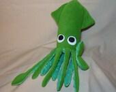 Lime Green Fleece Plush Squid Stuffed Animal