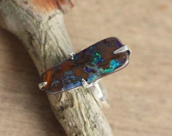 Australian Boulder Opal And Matrix Ring, 92.5 Sterling Silver