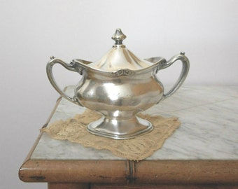 Antique Silverplate Sugar Bowl with Lid Pat. 1903 Stewart Hotel San Francisco Restaurant Reed Barton Shabby Cottage Chic Decor Dining