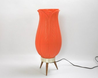 "Mid Century Modern Tripod Lamp Orange Acanthus Flower 15.5"" Tall Accent Lighting 1960s Atomic Boho Hippie Home Decor Eames Era Beehive"