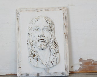 White Ceramic Jesus with Cross