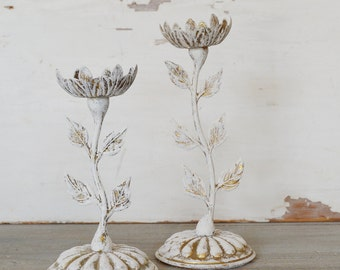Vintage Flower Candle Holders - Set of Two
