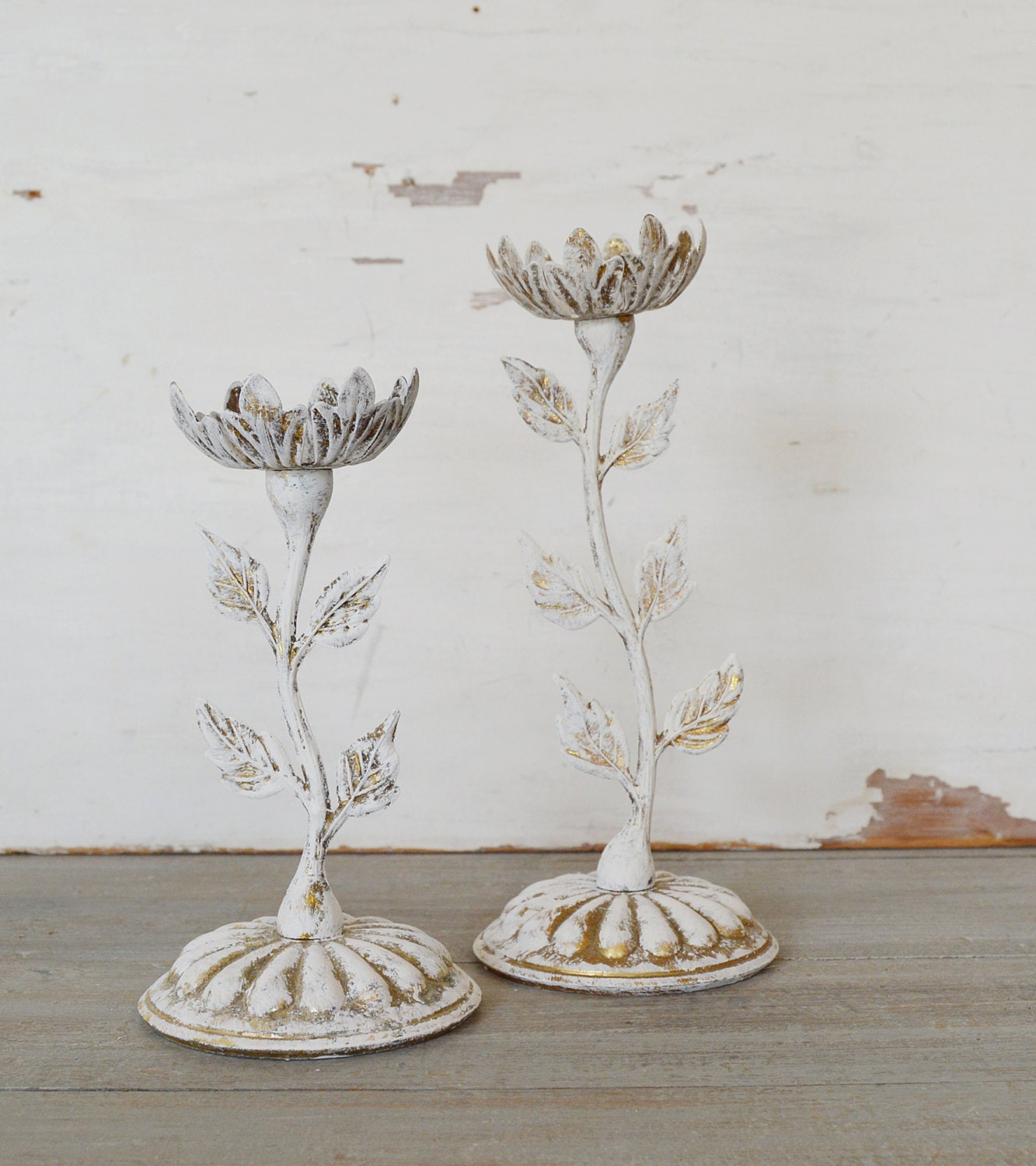 Vintage Flower Candle Holders Set of Two