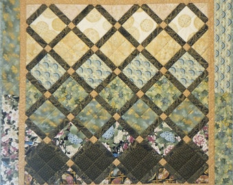 Asian Wall Hanging, 4930-2, Pieced Wall Quilt, Turquoise Wall Quilt, Asian Table Quilt