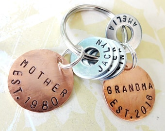 PERSONALIZED MOTHER - GRANDMA Gift Keychain - Personalized Hand Stamped Key Chain - Copper Disc & Washers