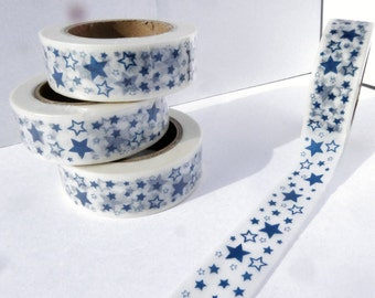 Blue Stars Washi Tape - Paper Tape Great for Scrapbooking Paper Crafts and Decorations - 4th of July 15mm x 10m