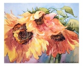 Sunflower Print, Limited Edition Giclee of Original Watercolor by Carla Niehaus, Free Shipping