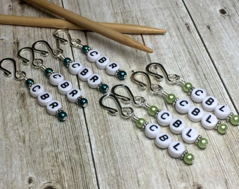 Cable Left/Right Reminder Markers- Cable Stitch Markers- Knitting Helpers- Gift for Knitters- Removable Pattern Markers