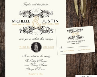 Great Gatsby art deco wedding invitation and RSVP card - roaring 20's