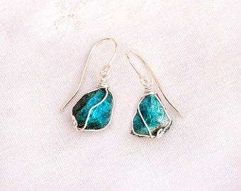 Raw Turquoise Earrings. Teal Earrings. Silver Earrings. Turquoise Rustic Earring. Raw Rough Stone Earring. Raw Stone Jewelry. Free Shipping