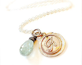Handmade Personalized Silver Wax Seal Classic Initial Necklace . Moss Aquamarine Jewellery