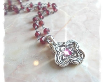 QUATREFOIL Petite Handmade Pink Ruby Necklace - Garnet Gemstone Beaded Chain, ALSO Avail. on STERLING Chain + Blue Topaz , Etruscan Style